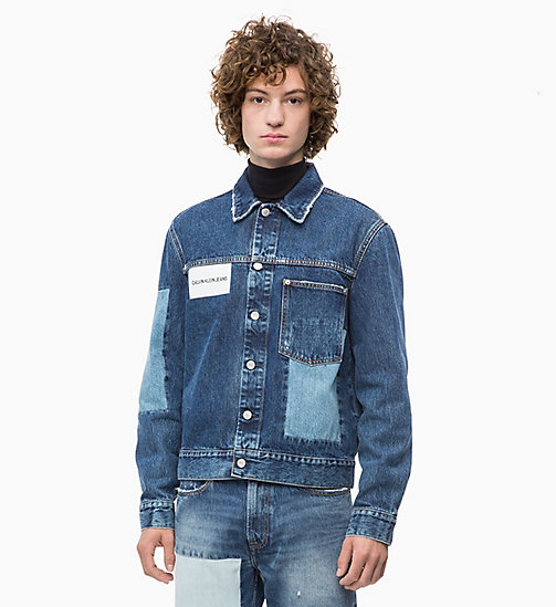 CALVIN KLEIN JEANS Patched Denim Trucker Jacket - DELTA BLUE - CALVIN KLEIN JEANS NEW ICONS - main image