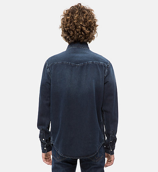 CALVIN KLEIN JEANS Western Denim Shirt - CAPE BLUE BLACK - CALVIN KLEIN JEANS CLOTHES - detail image 1