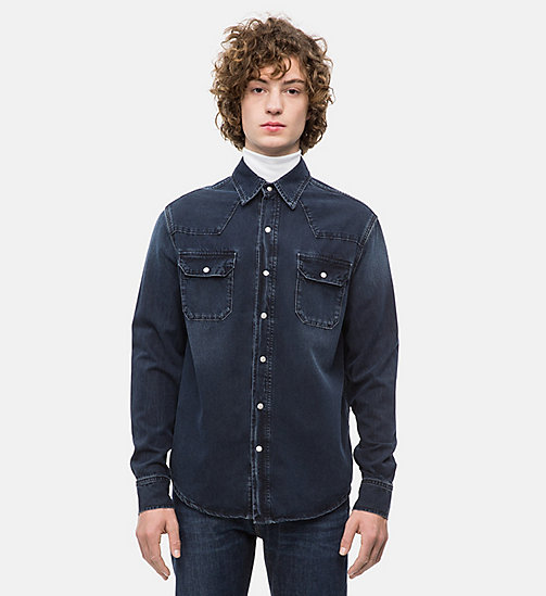 CALVIN KLEIN JEANS Western Denim Shirt - CAPE BLUE BLACK - CALVIN KLEIN JEANS CLOTHES - main image
