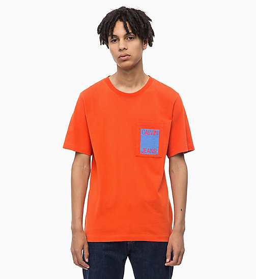 CALVIN KLEIN JEANS Organic Cotton Logo T-shirt - PUMPKIN RED - CALVIN KLEIN JEANS NEW IN - main image