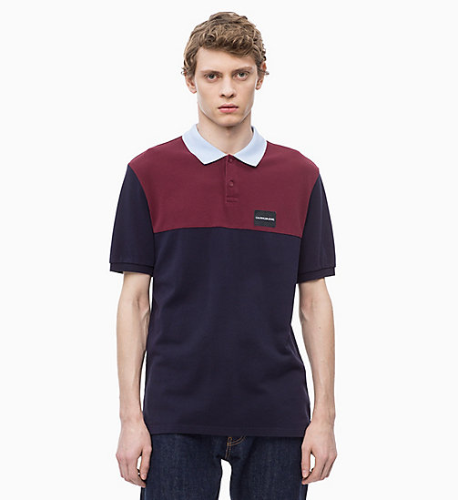 CALVIN KLEIN JEANS Piquékatoen colourblocked polo - NIGHT SKY - CALVIN KLEIN JEANS The New Off-Duty - main image