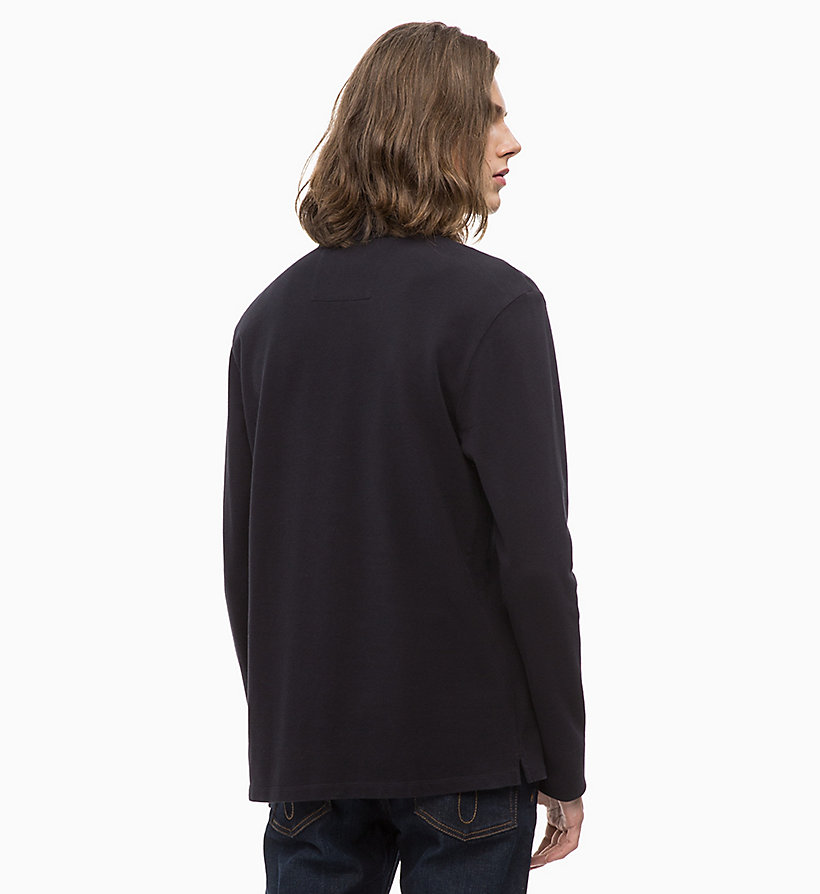 CALVIN KLEIN JEANS Long Sleeve Cotton Piqué Polo - TAWNY PORT - CALVIN KLEIN JEANS MEN - detail image 1