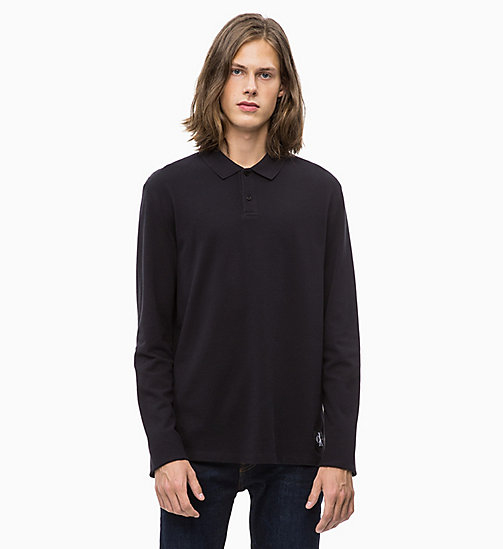 CALVIN KLEIN JEANS Long Sleeve Cotton Piqué Polo - CK BLACK - CALVIN KLEIN JEANS NEW IN - main image