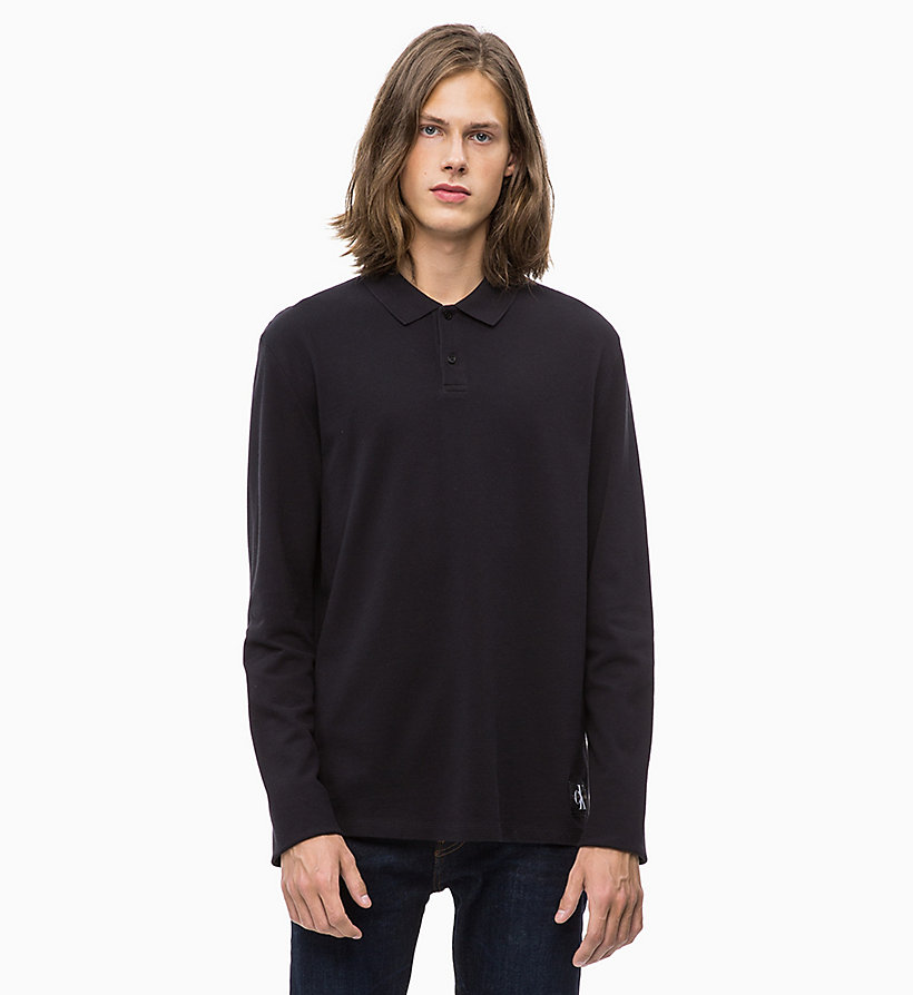 CALVIN KLEIN JEANS Long Sleeve Cotton Piqué Polo - TAWNY PORT - CALVIN KLEIN JEANS MEN - main image