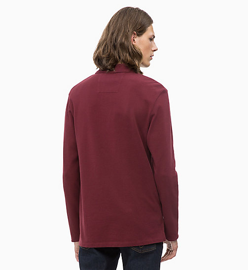 CALVIN KLEIN JEANS Long Sleeve Cotton Piqué Polo - TAWNY PORT - CALVIN KLEIN JEANS CLOTHES - detail image 1