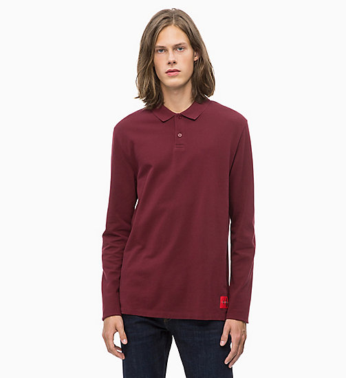 CALVIN KLEIN JEANS Long Sleeve Cotton Piqué Polo - TAWNY PORT - CALVIN KLEIN JEANS CLOTHES - main image