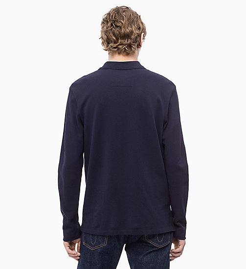 CALVIN KLEIN JEANS Long Sleeve Cotton Piqué Polo - NIGHT SKY - CALVIN KLEIN JEANS CLOTHES - detail image 1