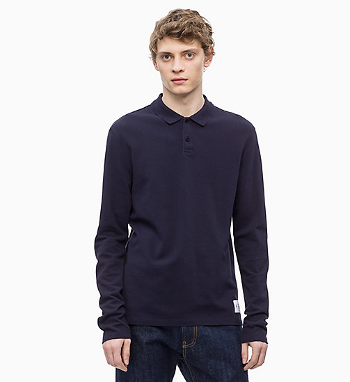 CALVIN KLEIN JEANS Long Sleeve Cotton Piqué Polo - NIGHT SKY - CALVIN KLEIN JEANS CLOTHES - main image