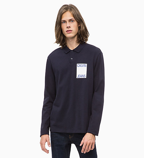 CALVIN KLEIN JEANS Long Sleeve Logo Polo - NIGHT SKY - CALVIN KLEIN JEANS CLOTHES - main image