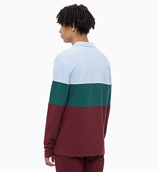 CALVIN KLEIN JEANS Long Sleeve Colour Block Polo - TAWNY PORT - CALVIN KLEIN JEANS The New Off-Duty - detail image 1