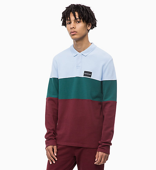 CALVIN KLEIN JEANS Long Sleeve Colour Block Polo - TAWNY PORT - CALVIN KLEIN JEANS The New Off-Duty - main image