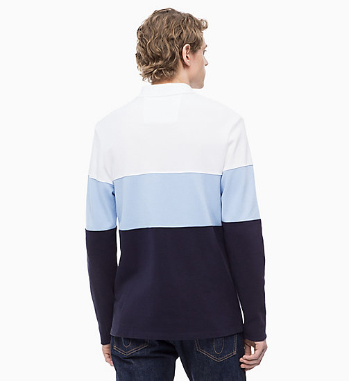 CALVIN KLEIN JEANS Long Sleeve Colour Block Polo - NIGHT SKY - CALVIN KLEIN JEANS CLOTHES - detail image 1