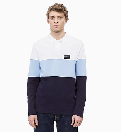 CALVIN KLEIN JEANS Long Sleeve Colour Block Polo - NIGHT SKY - CALVIN KLEIN JEANS CLOTHES - main image