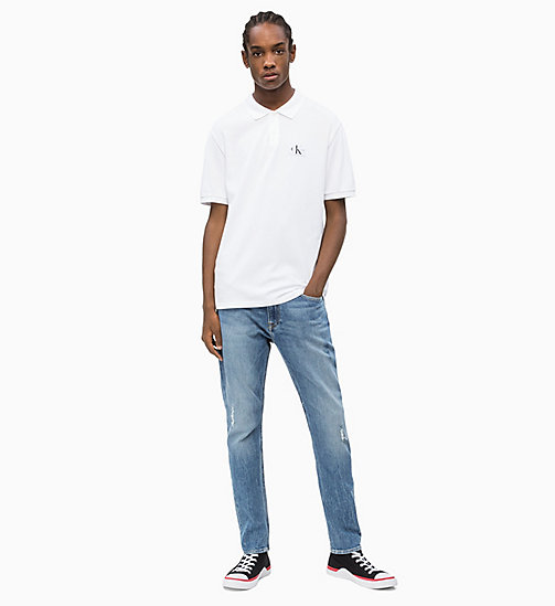 CALVIN KLEIN JEANS Cotton Piqué Polo - BRIGHT WHITE - CALVIN KLEIN JEANS NEW IN - detail image 1