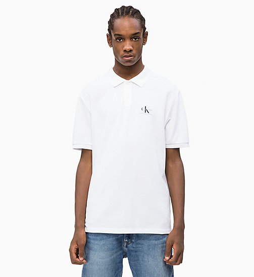 CALVIN KLEIN JEANS Cotton Piqué Polo - BRIGHT WHITE - CALVIN KLEIN JEANS CLOTHES - main image