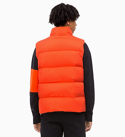 CALVIN KLEIN JEANS Quilted Down Gilet - PUMPKIN RED - CALVIN KLEIN JEANS IN THE THICK OF IT FOR HIM - detail image 1