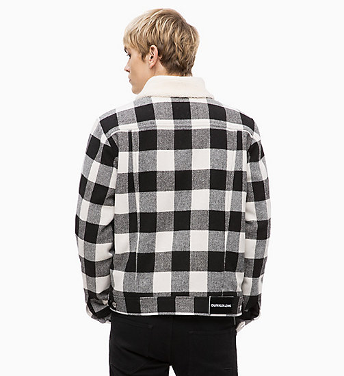 CALVIN KLEIN JEANS Wool Blend Check Trucker Jacket - BLACK WHITE - CALVIN KLEIN JEANS IN THE THICK OF IT FOR HIM - detail image 1