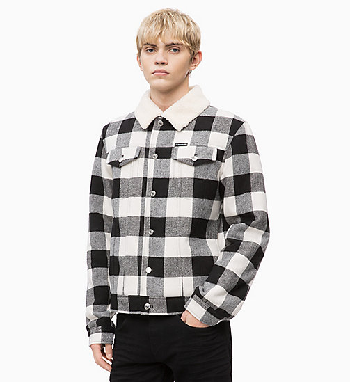 CALVIN KLEIN JEANS Wool Blend Check Trucker Jacket - BLACK / WHITE - CALVIN KLEIN JEANS IN THE THICK OF IT FOR HIM - main image