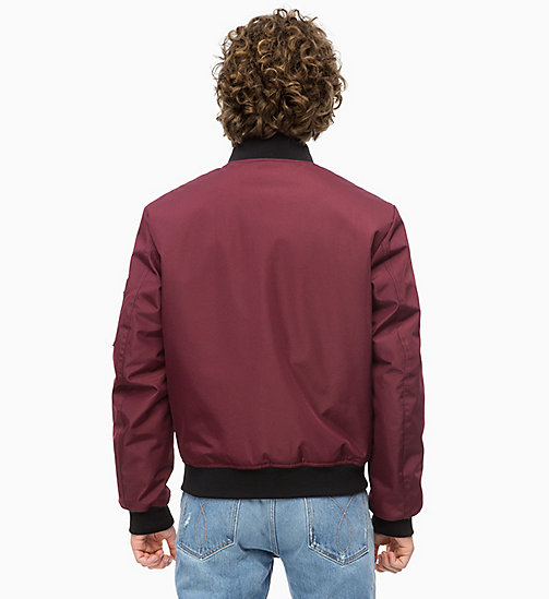 CALVIN KLEIN JEANS Canvas Bomber Jacket - TAWNY PORT - CALVIN KLEIN JEANS The New Off-Duty - detail image 1