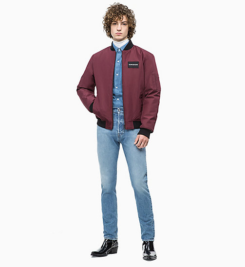 CALVIN KLEIN JEANS Canvas-Bomberjacke - TAWNY PORT - CALVIN KLEIN JEANS The New Off-Duty - main image 1