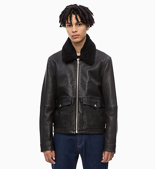 CALVIN KLEIN JEANS Leather Aviator Jacket - CK BLACK - CALVIN KLEIN JEANS FALL DREAMS - main image