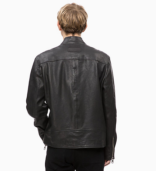 CALVIN KLEIN JEANS Leather Biker Jacket - CK BLACK - CALVIN KLEIN JEANS CLOTHES - detail image 1