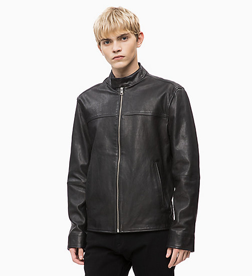 CALVIN KLEIN JEANS Leather Biker Jacket - CK BLACK - CALVIN KLEIN JEANS CLOTHES - main image