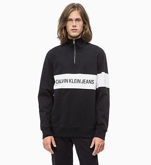 CALVIN KLEIN JEANS Stripe Logo Zip Neck Sweatshirt - CK BLACK - CALVIN KLEIN JEANS The New Off-Duty - main image