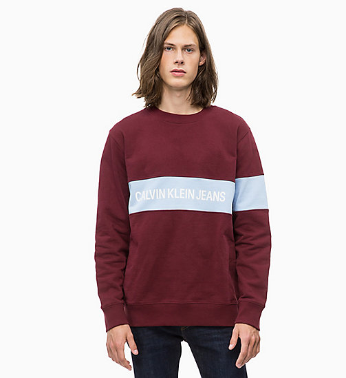 CALVIN KLEIN JEANS Sweat-shirt à rayures avec logo - TAWNY PORT - CALVIN KLEIN JEANS The New Off-Duty - image principale