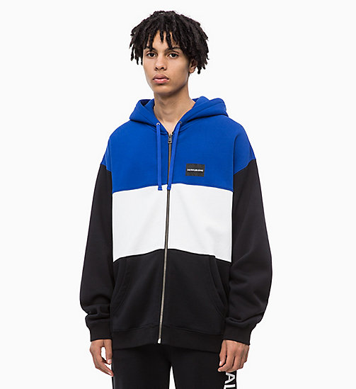 CALVIN KLEIN JEANS Colour Block Zip-Through Hoodie - CK BLACK - CALVIN KLEIN JEANS NEW IN - main image