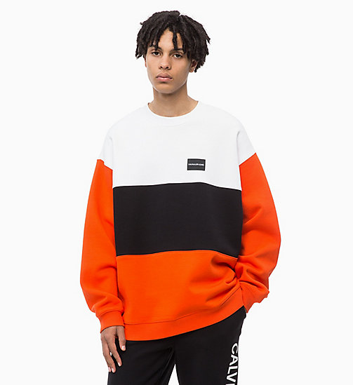 CALVIN KLEIN JEANS Oversized Colour Block Sweatshirt - PUMPKIN RED - CALVIN KLEIN JEANS FALL DREAMS - main image