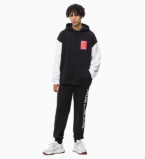 CALVIN KLEIN JEANS Oversized Two-Tone Hoodie - CK BLACK - CALVIN KLEIN JEANS BOLD GRAPHICS - detail image 1