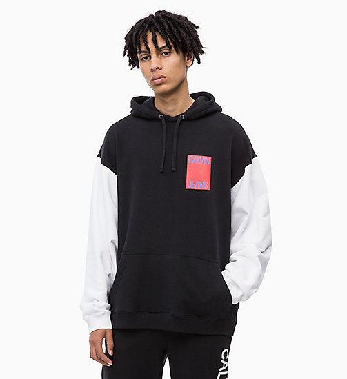 CALVIN KLEIN JEANS Oversized Two-Tone Hoodie - CK BLACK - CALVIN KLEIN JEANS BOLD GRAPHICS - main image