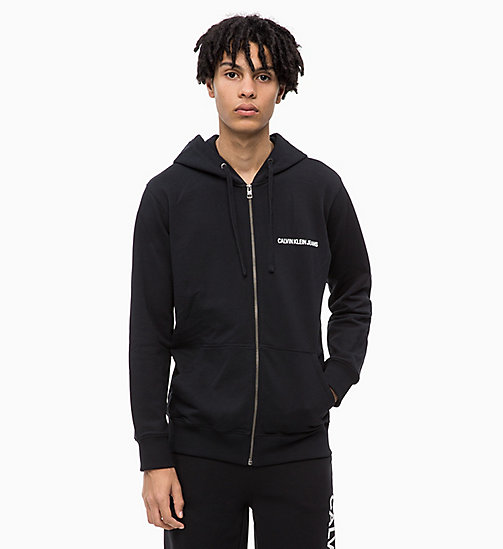 CALVIN KLEIN JEANS Zip-Through Hoodie - CK BLACK - CALVIN KLEIN JEANS NEW IN - main image