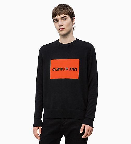 CALVIN KLEIN JEANS Combed Cotton Logo Jumper - CK BLACK - CALVIN KLEIN JEANS NEW IN - main image