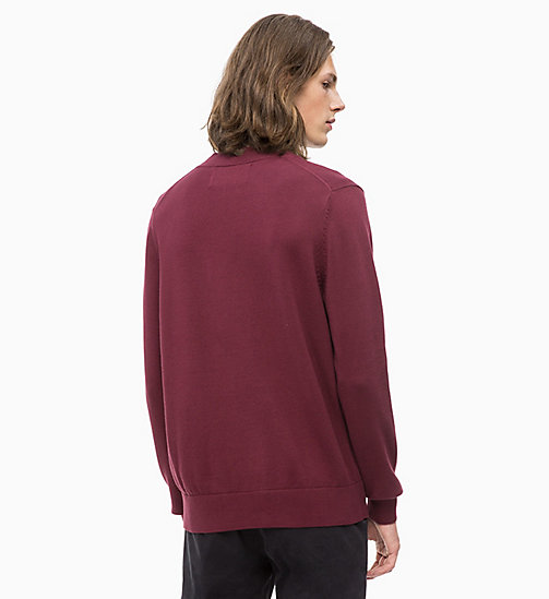 CALVIN KLEIN JEANS Combed Cotton Logo Jumper - TAWNY PORT -  NEW ICONS - detail image 1