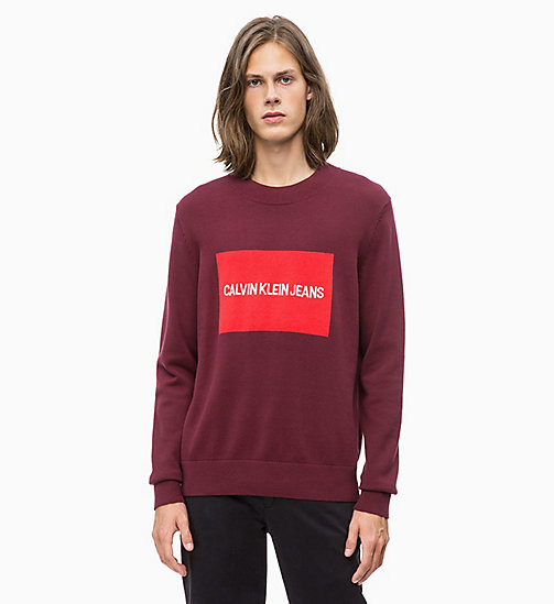 CALVIN KLEIN JEANS Combed Cotton Logo Jumper - TAWNY PORT - CALVIN KLEIN JEANS The New Off-Duty - main image