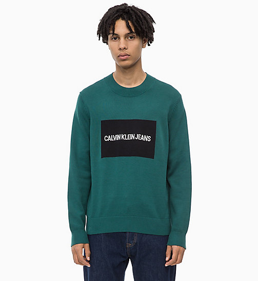 CALVIN KLEIN JEANS Combed Cotton Logo Jumper - JUNE BUG - CALVIN KLEIN JEANS NEW ICONS - main image