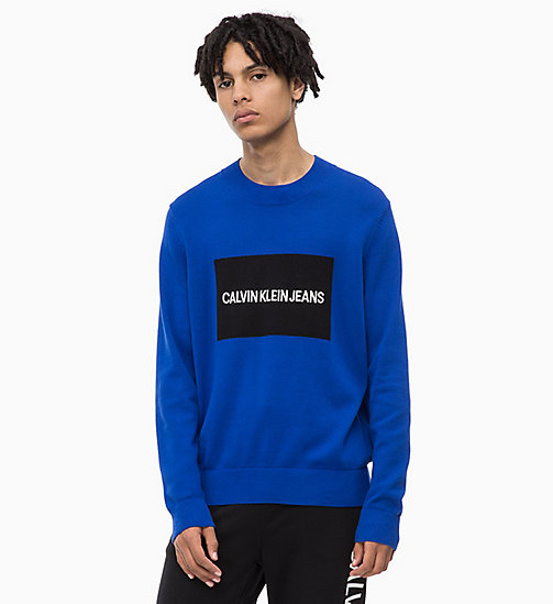 CALVIN KLEIN JEANS Combed Cotton Logo Jumper - SURF THE WEB - CALVIN KLEIN JEANS NEW IN - main image