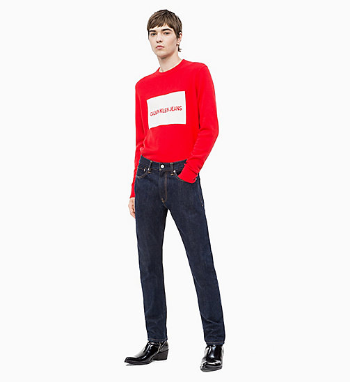 CALVIN KLEIN JEANS Combed Cotton Logo Jumper - RACING RED - CALVIN KLEIN JEANS CLOTHES - detail image 1