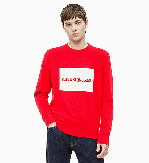 CALVIN KLEIN JEANS Combed Cotton Logo Jumper - RACING RED - CALVIN KLEIN JEANS NEW IN - main image
