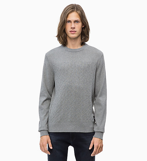 CALVIN KLEIN JEANS Baumwoll-Kaschmir-Sweater - GREY HEATHER - CALVIN KLEIN JEANS NEW IN - main image