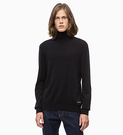 CALVIN KLEIN JEANS Felpa a collo alto in cachemire di cotone - CK BLACK - CALVIN KLEIN JEANS IN THE THICK OF IT FOR HIM - immagine principale