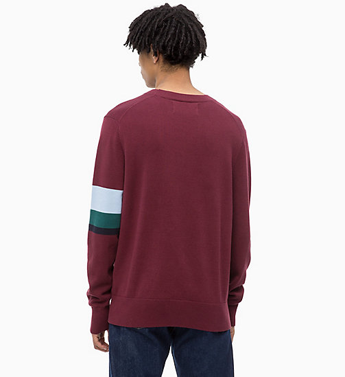 CALVIN KLEIN JEANS Sweater mit Kontraststreifen-Muster - TAWNY PORT - CALVIN KLEIN JEANS The New Off-Duty - main image 1