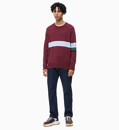 CALVIN KLEIN JEANS Contrast Stripe Jumper - TAWNY PORT - CALVIN KLEIN JEANS The New Off-Duty - detail image 1