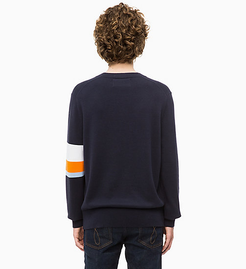 CALVIN KLEIN JEANS Sweater mit Kontraststreifen-Muster - NIGHT SKY - CALVIN KLEIN JEANS The New Off-Duty - main image 1