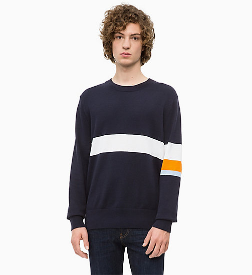 CALVIN KLEIN JEANS Sweater mit Kontraststreifen-Muster - NIGHT SKY - CALVIN KLEIN JEANS The New Off-Duty - main image