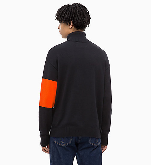 CALVIN KLEIN JEANS Colour Block Turtleneck Jumper - CK BLACK - CALVIN KLEIN JEANS NEW IN - detail image 1