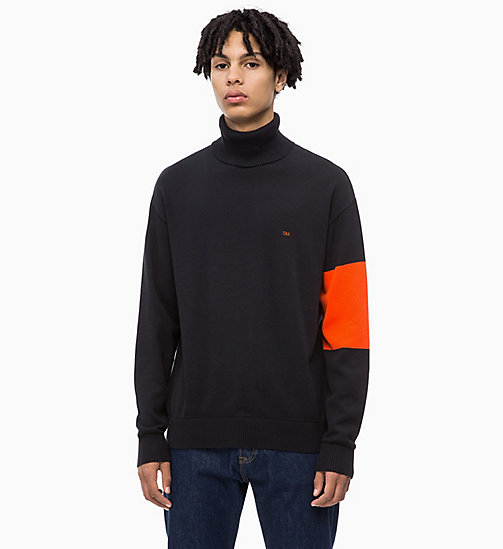 CALVIN KLEIN JEANS Colour Block Turtleneck Jumper - CK BLACK - CALVIN KLEIN JEANS NEW IN - main image