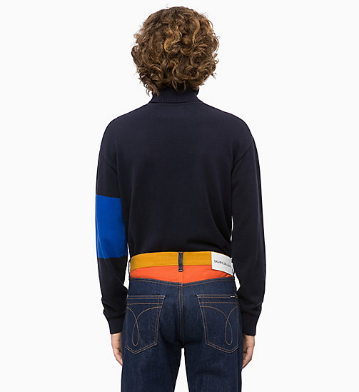 CALVIN KLEIN JEANS Colour Block Turtleneck Jumper - NIGHT SKY - CALVIN KLEIN JEANS NEW IN - detail image 1